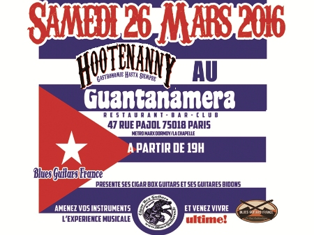 Hootnanny ! samedi 26 Mars avec St Louis Guitars et Blues Guitars France